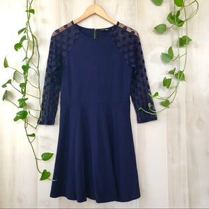Express purple blue dress with sheer sleeves